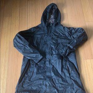 Cabela's black rain jacket with hood, size large